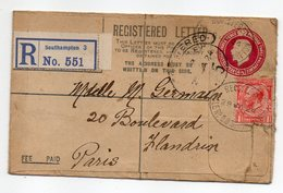 U.K --1924--Lettre De SOUTHAMPTON  Pour PARIS  (France )-Entier + Timbre  -cachet - 1902-1951 (Rois)