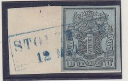 Hannover 1850 1 Ggr. Mi.-Nr. 1 Mit Kastenstempel STOLZENAU Auf Briefstück - Hanovre