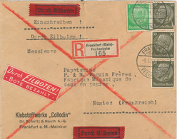 R-Brief Frankfurt Main Fechenheim Eilboten Hindenburg 1939 Nach Nantes/Frankreich - Briefe U. Dokumente