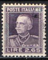 ITALIA REGNO - 1927 - EFFIGIE DEL RE VITTORIO EMANULELE III - PARMEGGIANI - 2,65 CENT -  USATO - Usados
