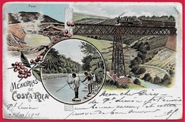"""CPA Post Card """"Memorias De COSTA-RICA"""" Circulé 1901 Pour Destination France ** Phila Marcophilie - Costa Rica"""