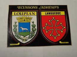 Carte Double Blason écusson Adhésif Autocollant Sticker Loupian Et Languedoc (Hérault) Adesivi Stemma Aufkleber Wappen - Obj. 'Souvenir De'