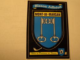 Carte Blason écusson Adhésif Autocollant Sticker Mont De Marsan 40 Landes Adesivi Stemma Aufkleber Wappen - Obj. 'Souvenir De'