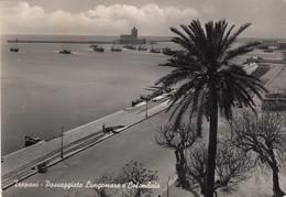 TRAPANI-PASSEGGIATA LUNGOMARE E COLOMBAIA-CARTOLINA VERA FOTOGRAFIA VIAGGIATA IL 18-8-1951 - Trapani
