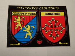 Carte Double Blason écusson Adhésif Autocollant Sticker Cessenon Sur Orb Et Languedoc Adesivi Stemma Aufkleber Wappen - Obj. 'Souvenir De'