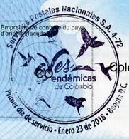 Lote SC848, Colombia, 2018, Cupon De Respuesta, UPU, Coupon, Bird Cancellation, Aves Endemicas - Otros