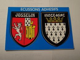 Carte Blason écusson Adhésif Autocollant Sticker Josselin (Morbihan) Et Bretagne Adesivi Stemma Aufkleber Wappen - Obj. 'Souvenir De'