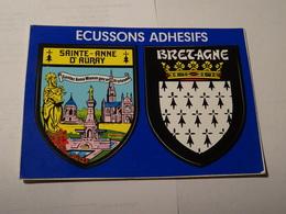 Carte Blason écusson Adhésif Autocollant Sticker Sainte Anne D'Auray Et Bretagne Adesivi Stemma Aufkleber Wappen - Obj. 'Souvenir De'