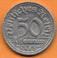 R13/ GERMANY WEIMAR 50 PFENNIG 1920 A - 50 Rentenpfennig & 50 Reichspfennig