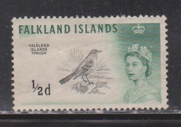 FALKLAND ISLANDS Scott # 128 MH - QEII & Falkland Islands Thrush - Bird - Falkland Islands