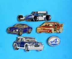 5 PIN'S //  ** F1 LIGIER / R5 MAXI TURBO / R21 TURBO / LOGO & ALPINE A110 RENAULT ** . (Locomobile Winner) - Renault