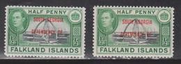 FALKLAND ISLANDS DEPENDENCES Scott # 3L1 MH X 2 - South Georgia Overprint - Falkland Islands