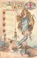 """08458 """"1902 - AUGURI PER IL NUOVO ANNO"""" CARTOLINA ORIG. SPED. 1902 - Neujahr"""