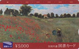 Carte Prépayée Japon - PEINTURE FRANCE - MONET - Femme & Enfant & Coquelicot Fleur - POPPY Flower Japan Painting Card - Fleurs