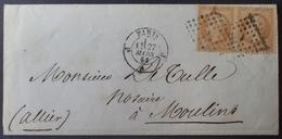 """DF40266/520 - NAPOLEON III PAIRE N°21 Sur ✉️ - Bureau """" J """" De Paris - PARIS 0 MOULLINS (Allier) - 1862 Napoléon III"""
