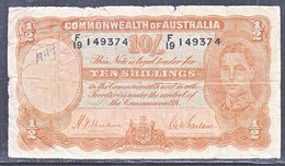 AUSTRALIA  TEN  SHILLINGS - Pre-decimal Government Issues 1913-1965