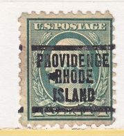 U.S. 424   Perf.  10  ROTORY PRESS   *  RHODE  ISLAND  Wmk. 190 Single Line  1914 Issue - Precancels