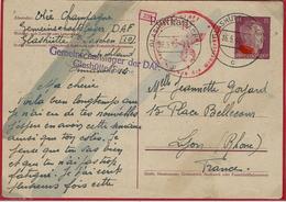 """S T O -Postkarte """" Camp Commun De Travail Allemand / Glasütte / Sachs """" - Marcophilie (Lettres)"""