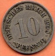 R13/ GERMANY EMPIRE  10 PFENNIG 1900 A - [ 2] 1871-1918 : German Empire