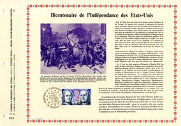 """RRR """" BICENTENAIRE DES ETATS-UNIS """" Sur Feuillet PAC (précurseur CEF) à Tirage Limité à 1500 Ex De 1976. N° YT 1879 RRR - Unabhängigkeit USA"""