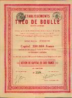 « Etablissements THEO DE BOULLE SA » Action De Capital De 500francs – Siège Social : ANVERS - Aandelen
