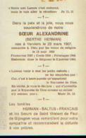 Souvenir Mortuaire HERMAN Berthe (Sœur Alxandrine) (1907-1984) Née à VERVIERS Religieuse à FRAMERIES (1932) ---> - Devotion Images