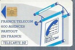 TELECARTE 50 UNITES -  600 AGENCES  - 1990 / 1991 - SO2 ( Trait Court ° - Frankrijk