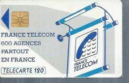 TELECARTE 120 UNITES -  600 AGENCES  - 1990 / 1991 - SO2 ( Trait Court ) - Frankrijk