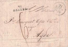 ALPES MARITIMES - 78 GRASSE - LETTRE DU 21 SEPTEMBRE 1829 - AVEC LONG TEXTE ET SIGNATURE BERENGER DE GRASSE ET MOUGINS P - Marcophilie (Lettres)