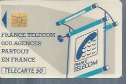 TELECARTE 50 UNITES -  600 AGENCES  - 1990 / 1991 - SO3 ( Trait Long ) - Frankrijk
