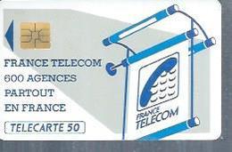 TELECARTE 50 UNITES -  600 AGENCES  - 1990 / 1991 - SO3 ( Trait Court) - Frankrijk