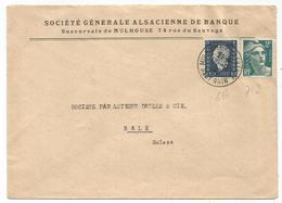 DULAC 40C + GANDON 2FR LETTRE MULHOUSE 11.11.1945 POUR BALE SUISSE TARIF FRONTALIER A 2FR40 RARE - 1944-45 Marianne Of Dulac