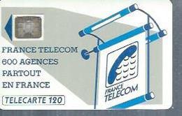 TELECARTE 120 UNITES -  600 AGENCES  - 1990 / 1991 - SC4 SUR FOND NOIR ( Trait Long ) - Frankrijk