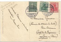 SEMEUSE 15C LIGNEE MIXTE GERMANIA 5C+10C MULHAUSEN 16.12.1918 ELSASS CARTE - 1903-60 Sower - Ligned