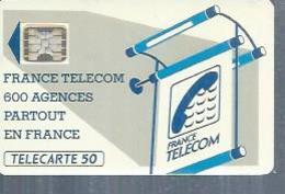 TELECARTE 50 UNITES -  600 AGENCES  - 1990 / 1991 - SC5 SUR FOND NOIR ( Trait Court ) - Frankrijk