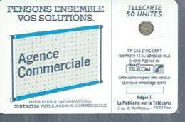 TELECARTE 50 UNITES -  600 AGENCES  - 1990 / 1991 - SC4 SUR FOND NOIR ( Trait Long ) - Frankrijk