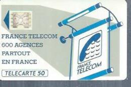 TELECARTE 50 UNITES -  600 AGENCES  - 1990 / 1991 - SC4 SUR FOND BLANC ( Trait Court ) - Frankrijk