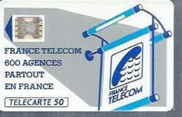 TELECARTE 50 UNITES -  600 AGENCES  - 1990 / 1991 - SC5 SUR FOND BLANC ( Trait Long ) - Frankrijk