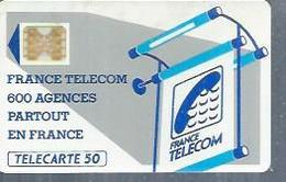 TELECARTE 50 UNITES -  600 AGENCES  - 1990 / 1991 - SC4 SUR FOND BLANC Doré ( Trait Long ) - Frankrijk