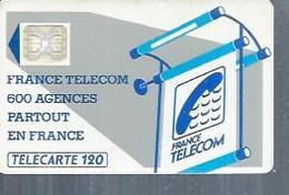 TELECARTE 120 UNITES -  600 AGENCES  - 1990 / 1991 - SC4 SUR FOND BLANC  ( Trait Long ) - Frankrijk
