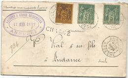 SAGE 75C N°99+5CX2 LETTRE CHARGE TYPE A ANNONAY ARDECHE 15 MARS 1897 - 1877-1920: Période Semi Moderne