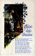 Glückliche Stunden - Liebespaar Und Spruch 1919 - Malerei & Gemälde