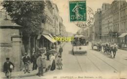 76 Le Havre-Graville, Route Nationale, Beau Tramway Au 1er Plan, Affranchie 1912 - Le Havre