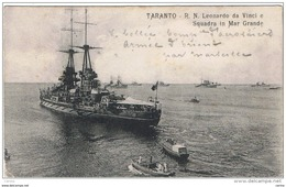 TARANTO:  R.N. LEONARDO  DA  VINCI  -  SQUADRA  IN  MAR  GRANDE  -  PER  LA  FRANCIA  -  FP - Guerra