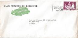 """Enveloppe  Du """" Club Porsche De Belgique"""". 1958. - Automobile"""