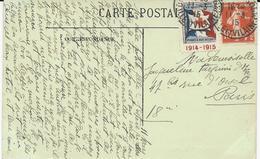 CARTE POSTALE 1915 AVEC VIGNETTE SOCIETE DE SECOURS AUX BLESSES MILITAIRES - 1. Weltkrieg 1914-1918