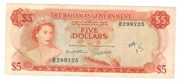 Bahamas 5 Dolares L.1965,  VF+ (Graf.) Rare. - Bahamas