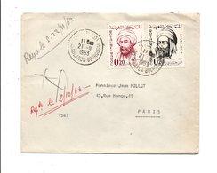 MAROC AFFRANCHISSEMENT COMPOSE SUR LETTRE POUR LA FRANCE 1963 - Marruecos (1956-...)