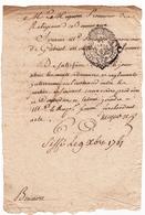 Abbaye De Bonnevaux 1761 Cissé Vienne Gabriel Motillon Timbre Généralité De Paris 1 Sol - Cachets Généralité