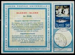 ISLANDE / ICELAND Vi21 IKr 25.00 + Stamp 5 KR Int. Reply Coupon Reponse Antwortschein IAS IRC O REYKJAVIK Redeemed GB - Enteros Postales
